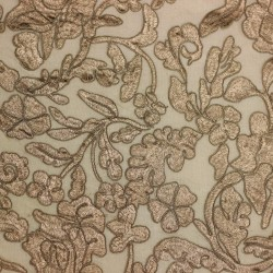 Plain taupe lace embroidered on tulle - 02