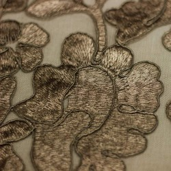 Plain taupe lace embroidered on tulle - 03