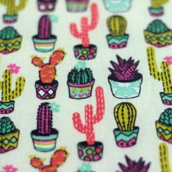 Aloes cactus pattern cotton fabric - 01