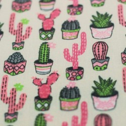 Pink Aloes Cactus Cotton Fabric -01