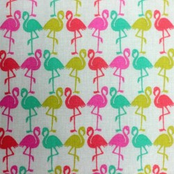 Pink Flamingo Pattern Cotton Fabric 01