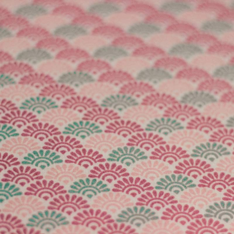 Pink sunrise lorraine pattern cotton fabric 01