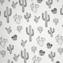 Cotton Fabric - QiuTie Kids - black and white - Cactus - 01