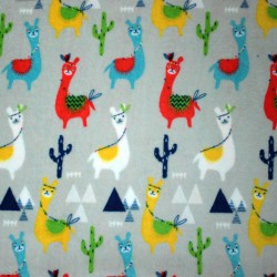 Doudou lama fabric - double sided triangles pattern - 01