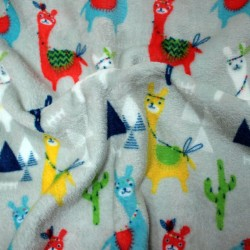 Doudou lama fabric - double sided triangles pattern - 03