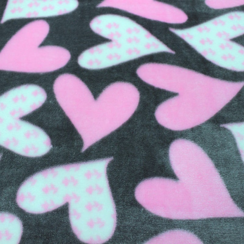 Gray spring print fabric with pink and white heart motifs - 02