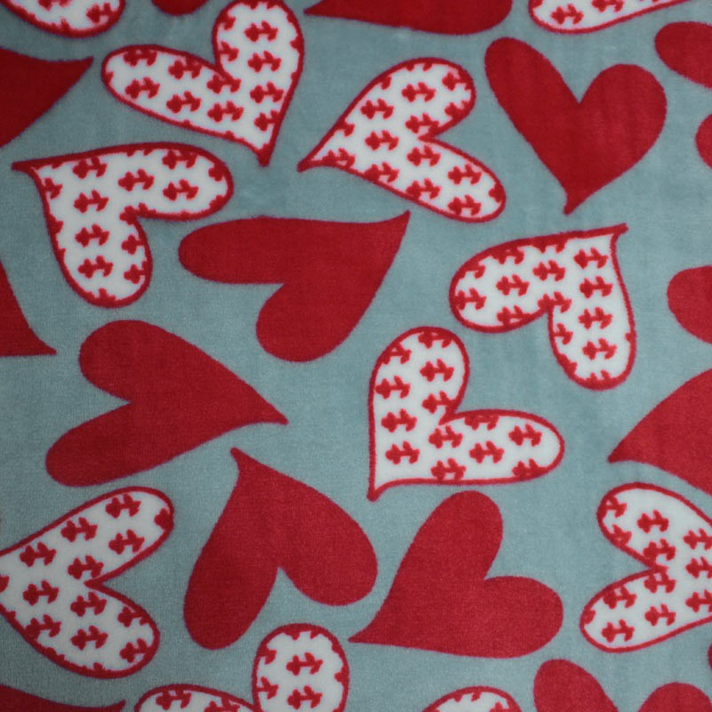 Doudou fabric Spring gray and heart motifs white and red - 01