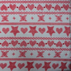 Doudou fabric Spring white and heart motifs and red stars - 01