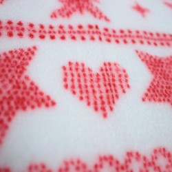 Doudou fabric Spring white and heart motifs and red stars - 03