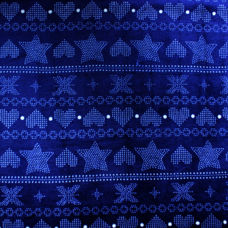 Blue spring fabric and heart pattern and stars blue - 01