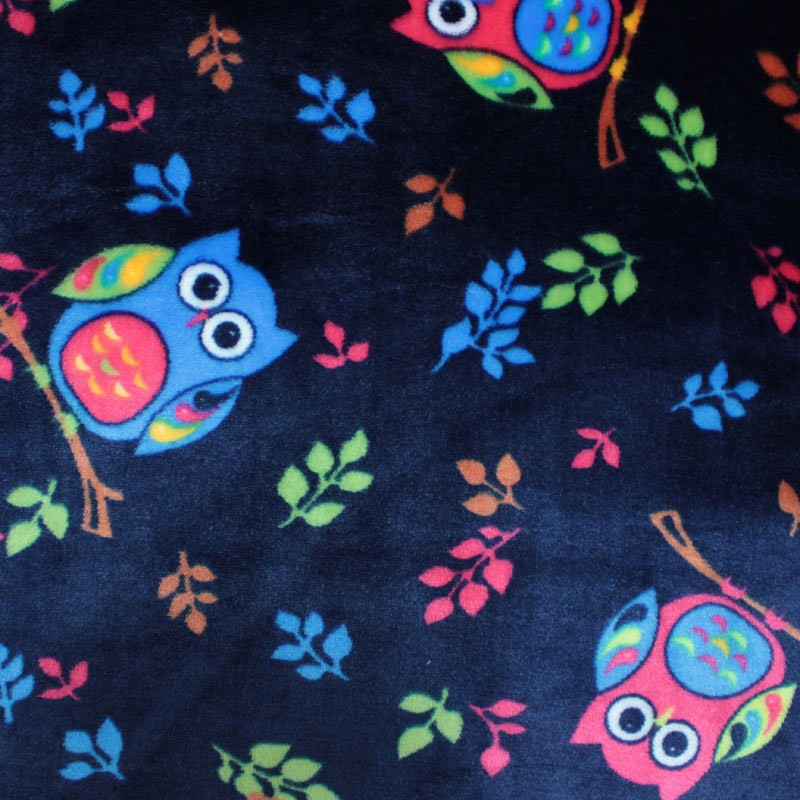Spring blue baby comforter fabric with multicolored owl pattern - 01