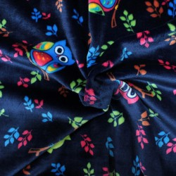 Spring blue baby comforter fabric with multicolored owl pattern - 02