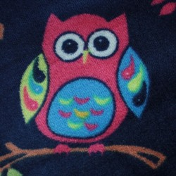 Spring blue baby comforter fabric with multicolored owl pattern - 03