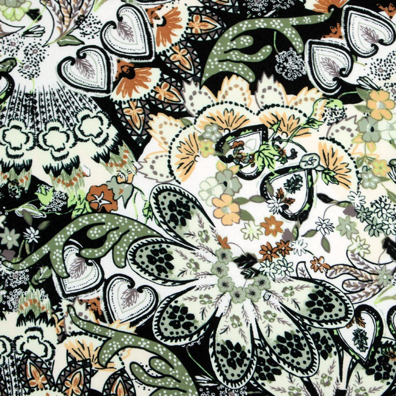 Fabric online - Viscose multicolored floral pattern - 02