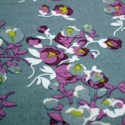 Viscose with floral patternwhite and mauve on a gray background - 02