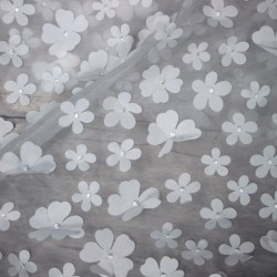 organza - white lace and petal of flowers 01