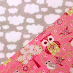 Doudou Hibou - Fuchsia double face nuage - 10cm - photo 1